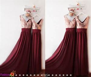 Bridesmaid dresses long 2016burgundy sequin bridesmaid for Maroon dresses for wedding