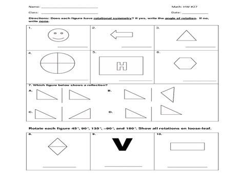 8th grade math transformations worksheet rotation