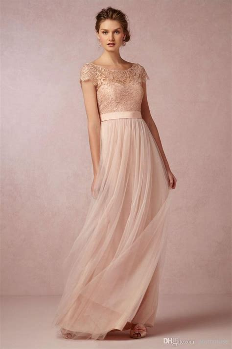 cheap lace coral bridesmaid dresses  short sleeves