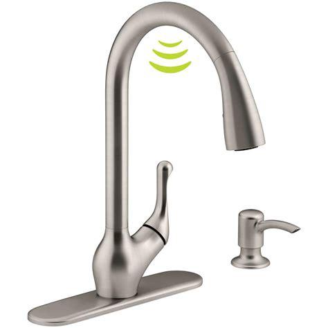 kohler barossa  response touchless technology single handle pull  sprayer kitchen faucet