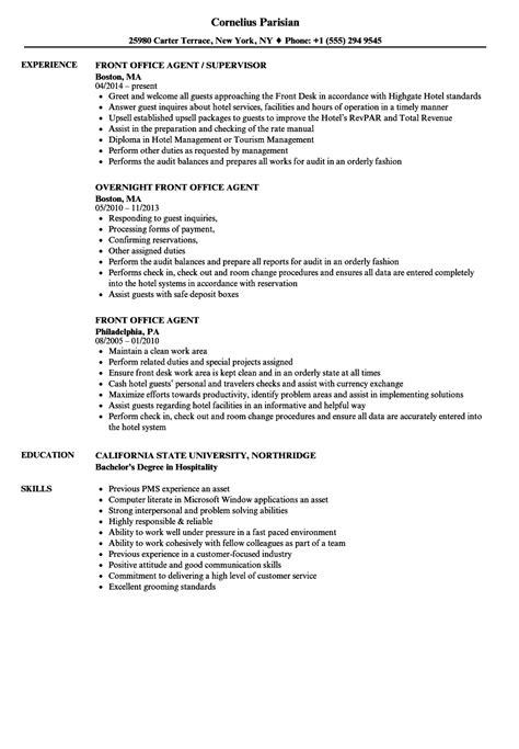 Front Office Agent Resume Samples   Velvet Jobs