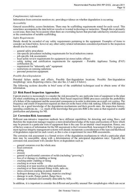 Dnv rp g103 non intrusive inspection 2011