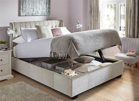 sana fabric upholstered ottoman bed frame ideas for the