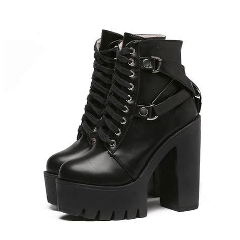 Goth Buckle High Heel Top Boots Kokopiecoco