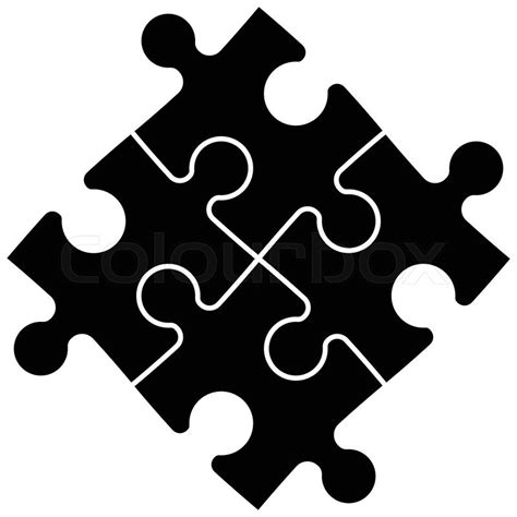 Four black vector puzzle pieces perfectly connected