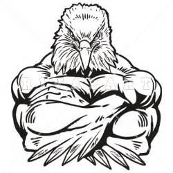 Eagle Mascot Clip Art Black and White