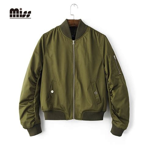 kent jaket bomber two zipper miss 2016 army green bomber jacket casual coat spring jaket fashion full sleeve zipper