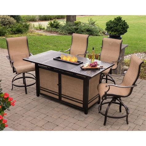 fire pit bar table monaco 5pc high dining bar set with 30 000 btu fire pit