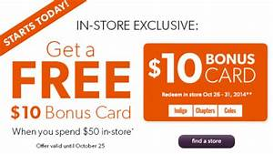 Chapters Indigo $10 Gift Card When You Spend $50 In-Store ...