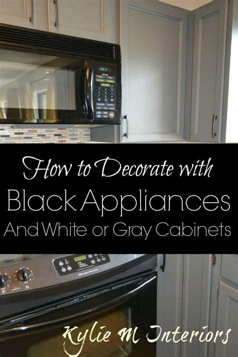 black appliances  white  gray cabinets