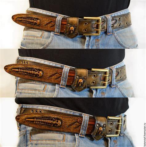 leather belt handmade skulls steampunk zakazat na