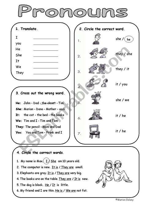 basic personal subject pronouns esl worksheet
