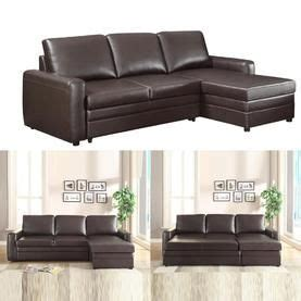 livingroom sectional coaster functional brown faux leather upholstered