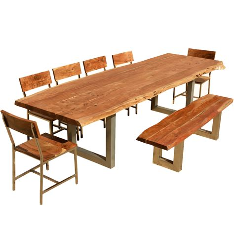 acacia wood dining table 117 quot live edge dining table w 6 chairs bench acacia