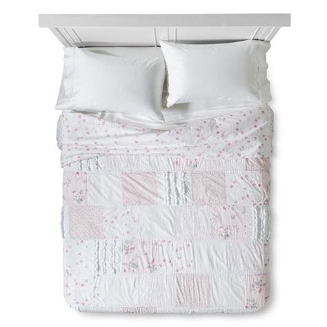 simply shabby chic sheets reviews pink white ditsy patchwork quilt simply shabby chic target