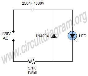 Simple Mains Indicator Led Circuit Diagram