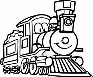 Cute Cartoon Train Coloring Page | Wecoloringpage