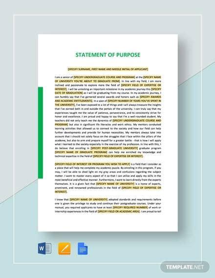 sample statement  purpose   ms word