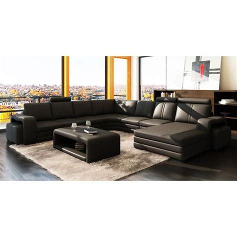 canapé panoramique en cuir canapé d 39 angle panoramique cuir noir 10 places hav achat