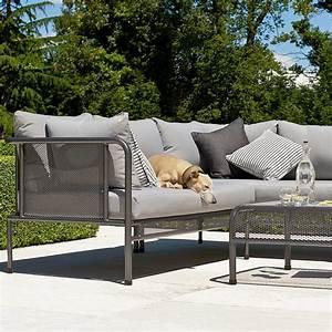 canape de jardin avec coussins haut de gamme en acier pour With tapis exterieur avec plaid lin canapé