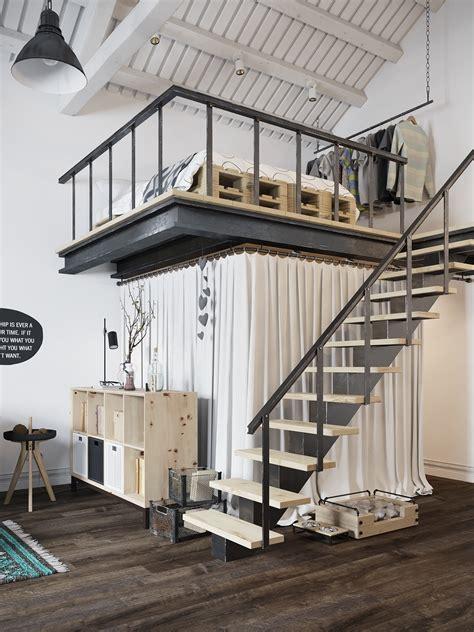 Tiny Scandinavian Studio Loft by Chic Scandinavian Studio Apartment Design Arranged With