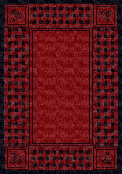 pinecone plaid red area rug cabin place
