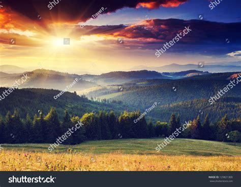 Majestic Sunset Mountains Landscape Dramatic Sky Stock