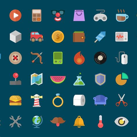 colorful flat icons photoshop psd