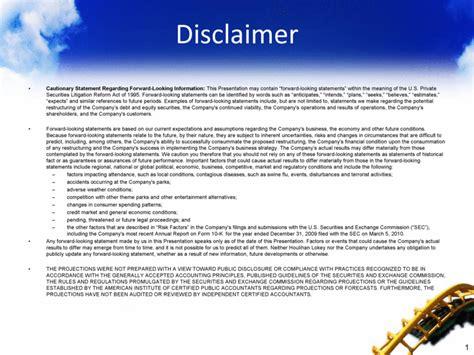 sample estimate disclaimer