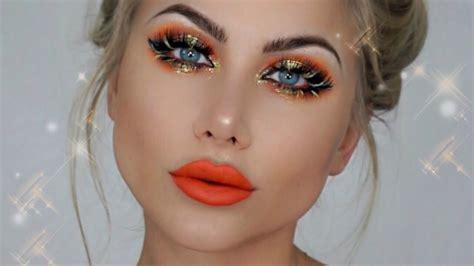 halloween pumpkin spice makeup tutorial bright orange lips eyes beeisforbeeauty youtube