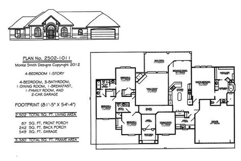 4 Bedroom, 1 Story House Plans