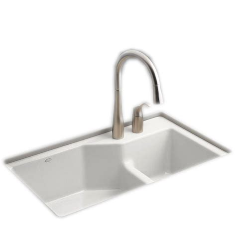 white cast iron undermount kitchen sink kohler indio smart divide undermount cast iron 33 in 2 2040