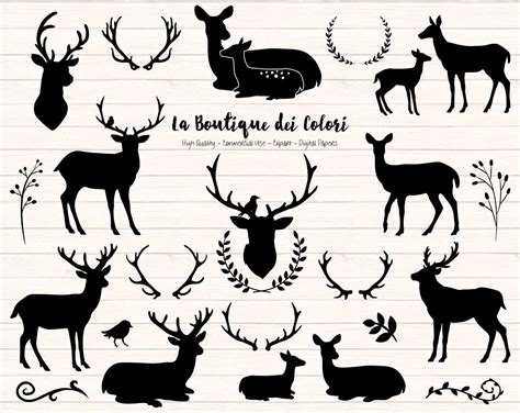 black deer silhouette clipart cute graphics png christmas