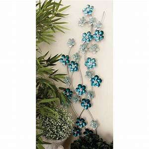 In iron light blue flowers wall decor