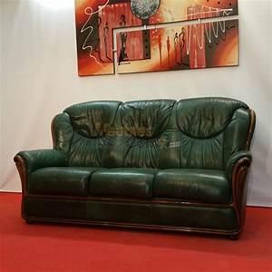 canape stylise cuir vert bois apparent 3 places n124 With teindre un canapé en cuir vert