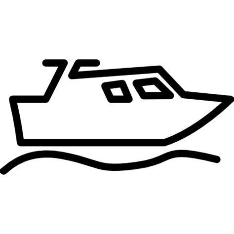 Motor Boat Outline by Boat Outline Free Transport Icons