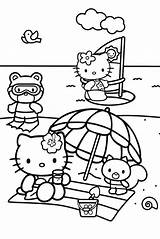 Coloring Beach Pages Hello Kitty Scenes sketch template