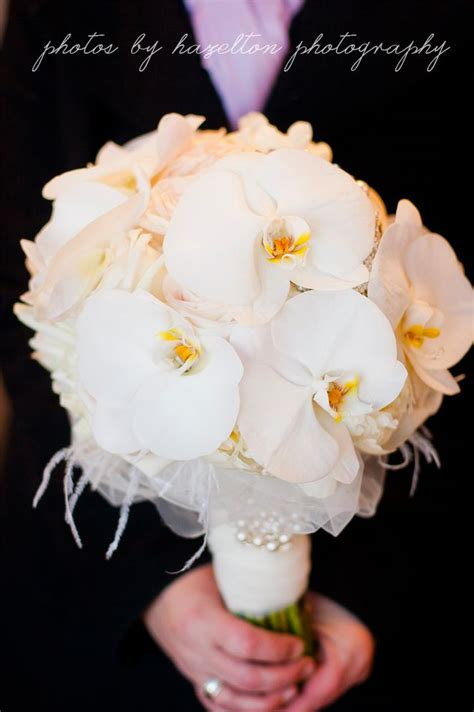 featured bouquet romantic white orchids peonies