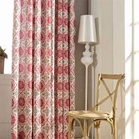 red patterned curtains Linen curtains Grommet top Window Treatments Red Geometric ...