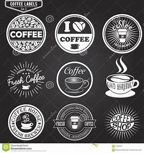 set of coffee labels design elements emblems and stock With coffee label design template