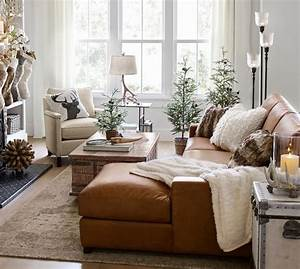 turner square arm leather sofa with chaise sectional With pottery barn turner sectional sofa
