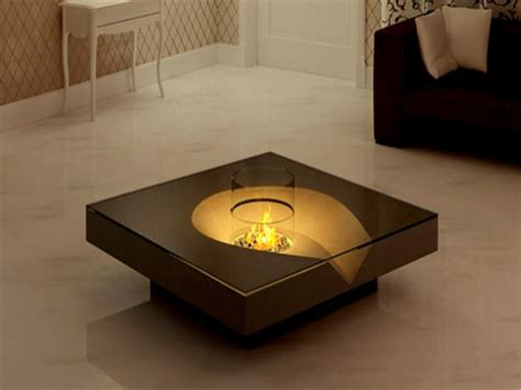 Unique Glass Coffee Table, Led Coffee Table Fireplace