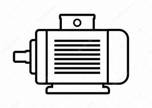 Electric Motor Icon On White Background  U2014 Stock Vector