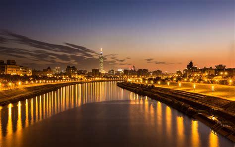 Taiwan Taipei River Evening China Cities Buildings