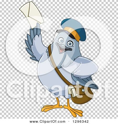 clipart   cartoon happy carrier pigeon mail man holding