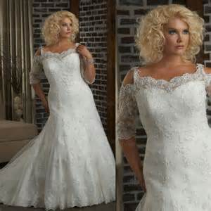 plus size fit and flare wedding dress 2013 half sleeves fit and flare lace plus size bridal wedding dress jpg