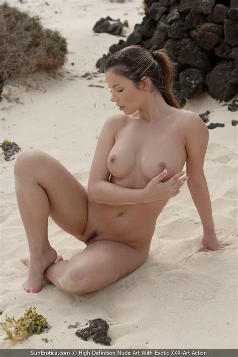 Sexy Brunette On Beach By Sun Erotica Photos Erotic Beauties