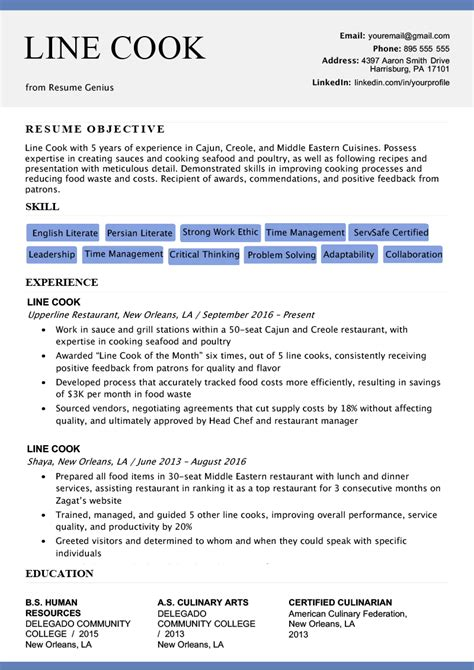 cook resume sample writing tips resume genius