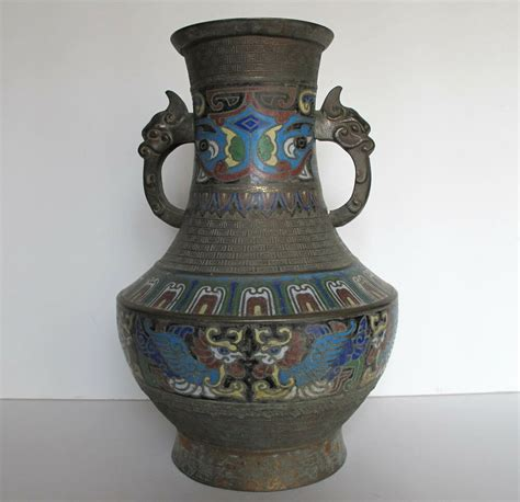 Pictures Of Antique Vases by Antique Asian Japanese Large Cloisonne Chleve Bronze