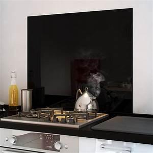 Credence Plaque De Cuisson : cr dence fond de hotte verre brillant noir hauteur ~ Dailycaller-alerts.com Idées de Décoration